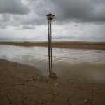 Water level fluctuations at Junin can be up to 2.3m as shown on this meter. Photo: Gunnar Engblom