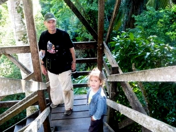 Sturdy staircase up to the Inkaterra Canopy Walkway. Gunnar and Luciana